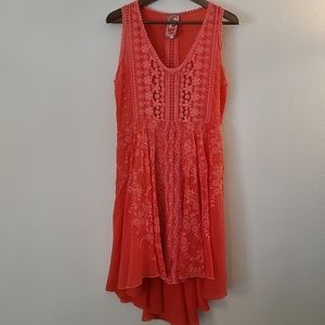 Johnny Was Sleeveless Embroidered Coral Pink Dress